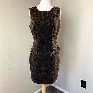 Vintage Metallic Gold Black Skirt Set